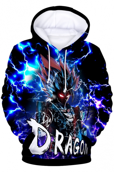 Dragon Ball Cool 3D Comic Character Pattern Long Sleeve Loose Casual Blue Hoodie
