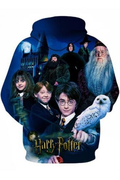 Harry Potter Series Cool 3D Film Character Pattern Long Sleeve Sport Blue Drawstring Hoodie