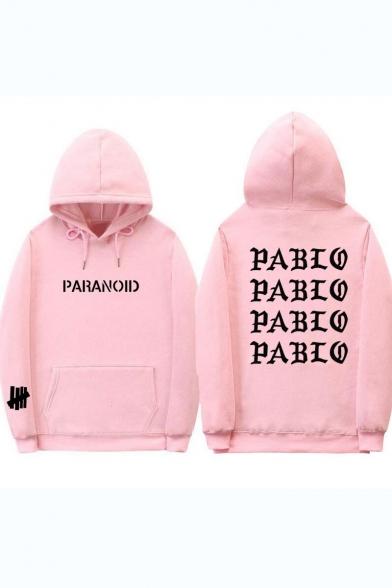 Kanye Cool Street Letter PARANOID PABLO Pattern Long Sleeve Sport Casual Hoodie