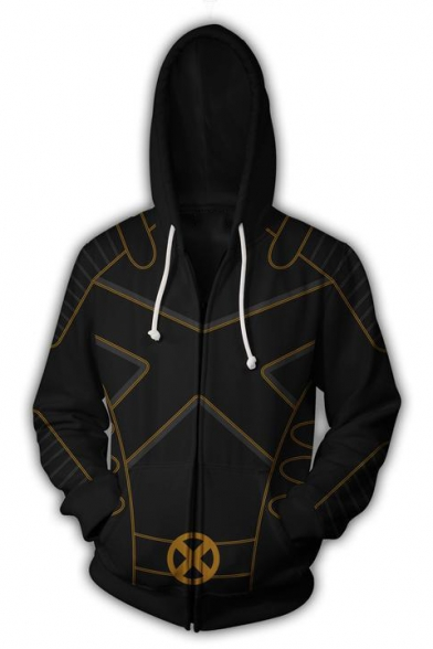 Cool 3D Printing Long Sleeve Black Zipper Hoodie