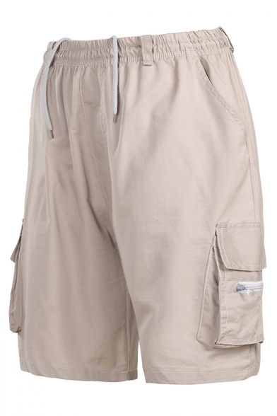 Men's New Stylish Simple Plain Flap Pocket Side Cotton Loose Outdoor Cargo Shorts