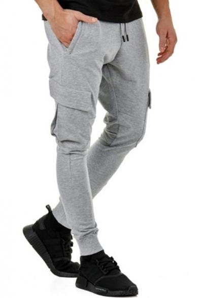 Men's Simple Plain Drawstring Waist Flap Pocket Side Skinny-Fit Joggers Pencil Pants