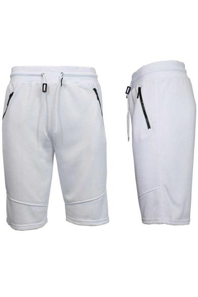 Mens New Fashion Zip-Pocket Drawstring Waist Sport Casual Loose Sweat Shorts