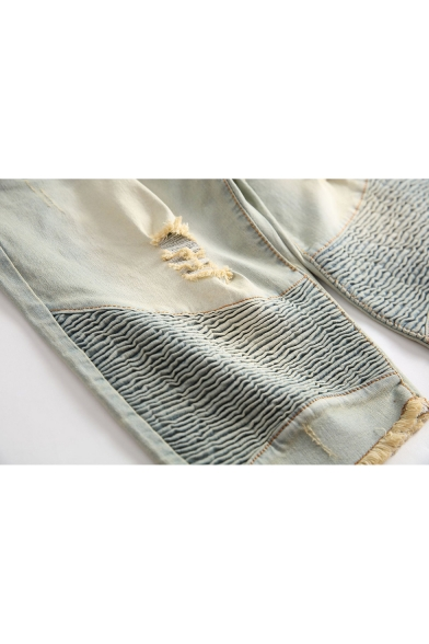 Mens Vintage Style Street Fashion Pleated Crumple Ripped Detail Light Yellow Jeans Denim Shorts