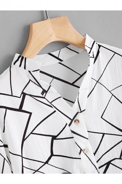 Simple White V-Neck Fashion Geometric Printed Long Sleeve Dipped Hem Casual Button Shirt