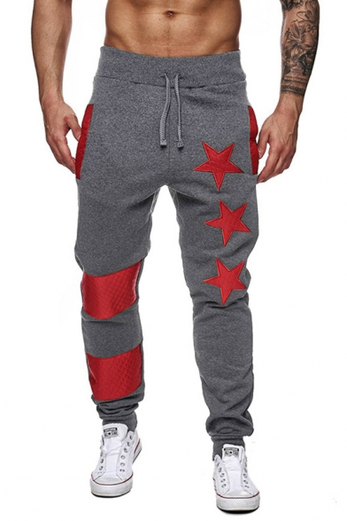 Trendy Five-Point Star Print Patched Detail Drawstring Waist Casual Sport Sweatpants for Men