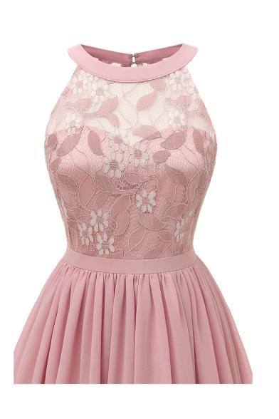 Women's Sexy Sleeveless Lace-Panelled A-Line Midi Chiffon Dress Evening Dress