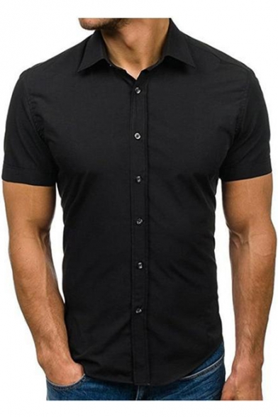 Basic Simple Plain Men's Slim Fitted Button-Up Short Sleeve Cotton Shirt