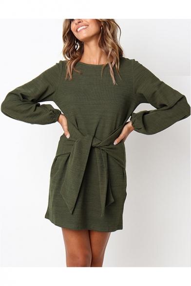 Basic Simple Plain Round Neck Long Sleeve Tied Waist Mini Shift Dress