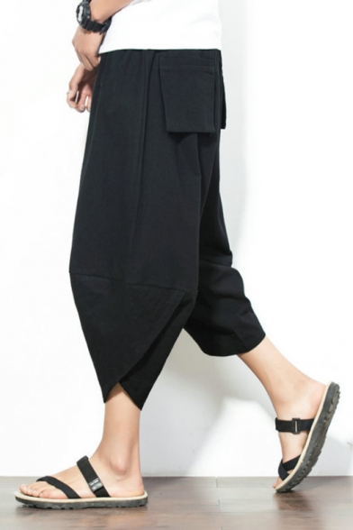 Chinese Style Summer Fashion Plain Drawstring Waist Casual Loose Linen Cropped Carrot Pants for Guys