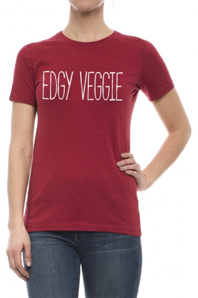 Fashion Street Letter EDGY VEGGIE Pattern Round Neck Short Sleeve Cotton Loose T-Shirt