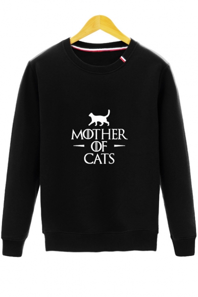 Funny Letter MOTHER OF CATS Crewneck Long Sleeve Regular-Fit Pullover Sweatshirt
