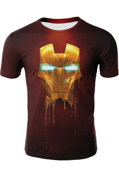 Iron Man Cool Printed Summer Basic Short Sleeve Red Loose Fit T-Shirt