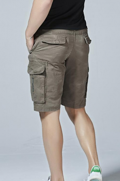 Men's New Stylish Simple Plain Cotton Casual Military Cargo Shorts