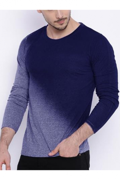 Men's Stylish Ombre Long Sleeve Round Neck Fitted T-Shirt