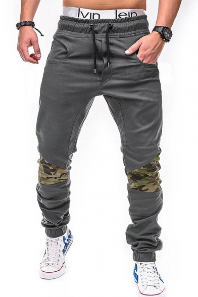 Mens New Fashion Cool Camo Patched Knee Drawstring Waist Elastic Cuff Fitted Pencil Pants
