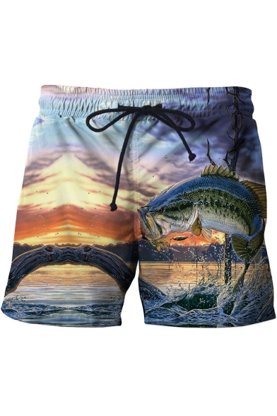 New Fashion 3D Fish Printed Drawstring Waist Mens Summer Beach Swim Trunks