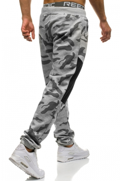 New Fashion Camo Printed Drawstring Waist Knee-Patched Sporty Casual Sweatpants for Men