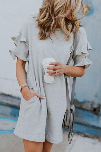 New Fashion Ruffled Short Sleeve Round Neck Simple Plain Mini Grey T-Shirt Dress
