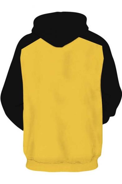 Trendy Colorblock Cosplay Costume Long Sleeve Loose Casual Yellow Hoodie