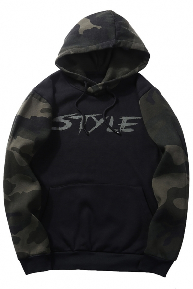 Simple Letter STYLE Camo Long Sleeve Guys Loose Casual Pullover Hoodie