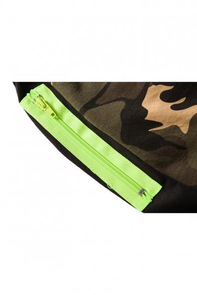 Summer New Stylish Fashion Camo Printed Elastic Waist Athletic Shorts for Men