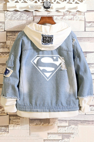 Superman Logo Printed Back Ripped Detail Fashion Unisex Button-Down Hooded Denim Jacket