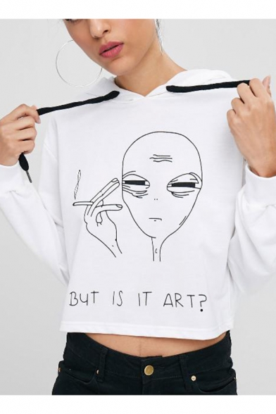 Cool Smoking Alien Letter BUT IS IT ART Print Long Sleeve White Cropped Hoodie