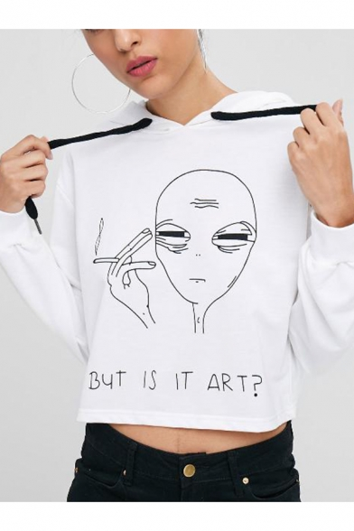 Cool White Alien Cartoon Graphic Print Long Sleeves Pullover Cropped Hoodie