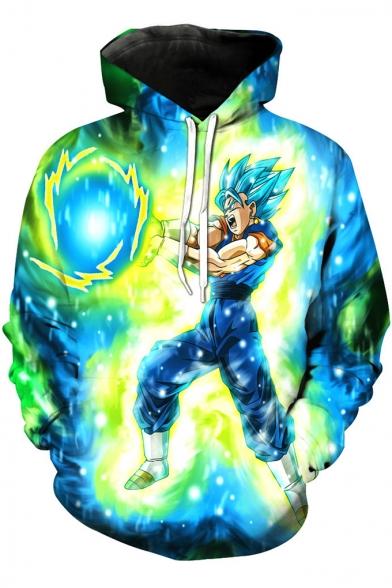Dragon Ball Goku 3D Galaxy Print Sport Relaxed Fit Blue Drawstring Hoodie