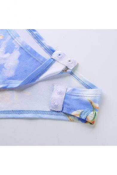Fashion Lovely Angel Baby Pattern Sleeveless Slim Fit Blue Bodysuit