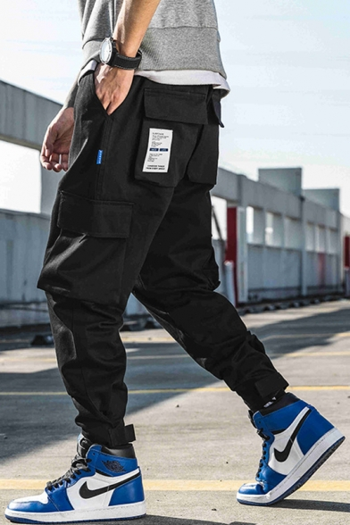 Mens Street Fashion Patched Velcro Gathered Cuff Casual Loose Cargo Pants