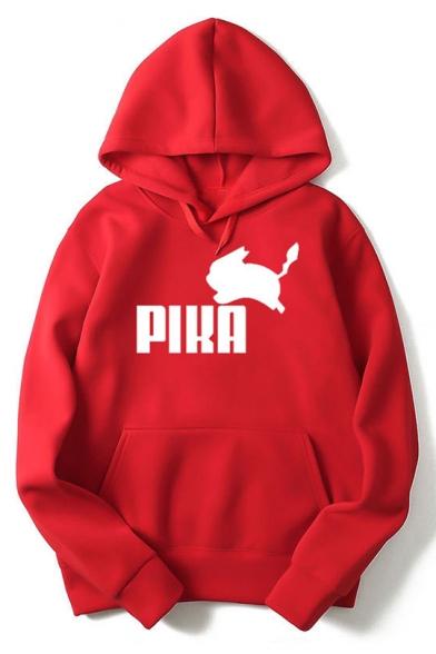 PIKA Simple Letter Printed Loose Casual Pullover Long Sleeve Hoodie