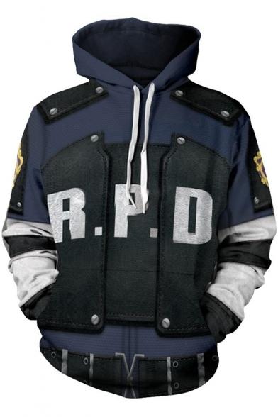 Resident Evil 3D Letter R P D Logo Print Comic Cosplay Costume Long Sleeve Blue Drawstring Hoodie