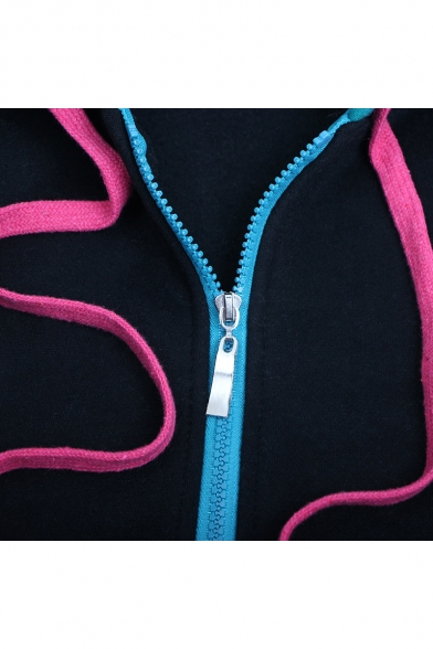 Hatsune Miku Comic Colorblock Cosplay Costume Long Sleeve Zip Up Blue Hoodie