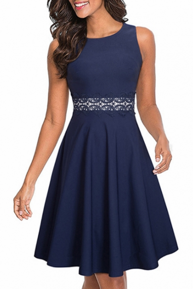 Simple Graceful Round Neck Sleeveless Chic Lace-Trimmed Waist Plain Midi A-Line Dress