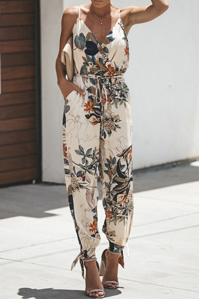 Summer Fashion Floral Pattern V-Neck Sexy Split Side Gathered Cuff Cotton Jumpsuits