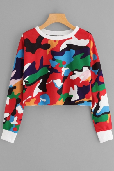 Unique Stylish Red Camouflage Printed Round Neck Long Sleeve Cropped Sweatshirt