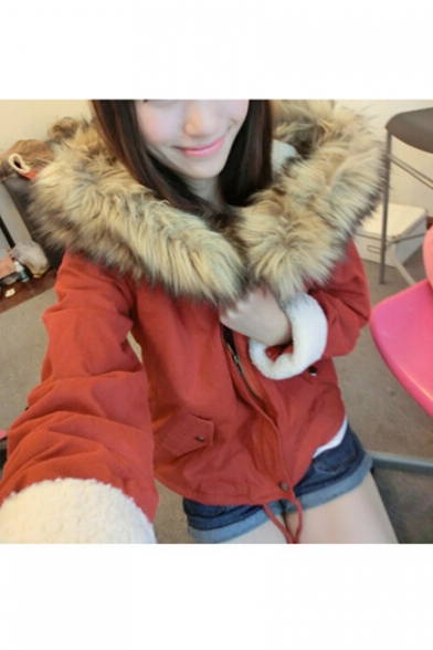Winter Collection Zip Up Long Sleeve Hooded Coat with Fur Collar