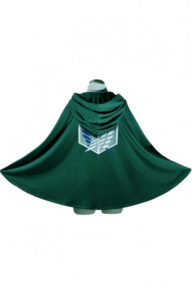Cool Logo Printed Cosplay Costume One Button Halloween Green Cape Coat
