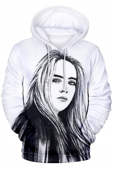 American Singer-Songwriter Fashion 3D Portrait Sketch Pattern Sport Casual Long Sleeve Pullover Hoodie