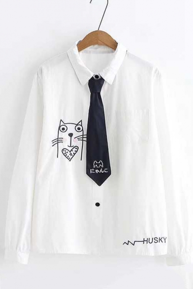 Cute Cartoon Cat Printed Tied Collar Long Sleeve Basic White Cotton Shirt