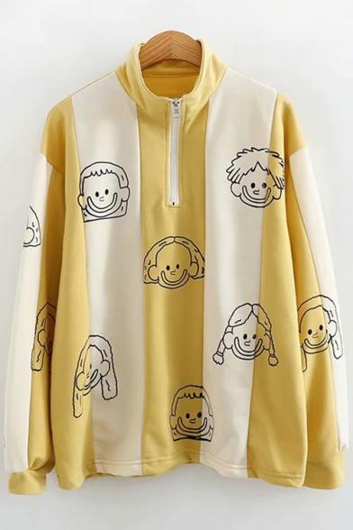 Cute Cartoon Character Printed Half-Zip Stand Collar Long Sleeve Loose Fit Yellow Sweatshirt