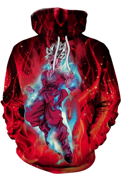 Dragon Ball New Stylish 3D Comic Figure Fire Pattern Red Pullover Hoodie