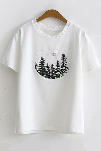 Lovely Beading Tree Basic Short Sleeve Round Neck Loose Fit T-Shirt