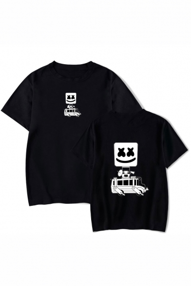 American Music DJ Funny Cartoon Car Printed Unisex Summer Loose Relaxed T-Shirt