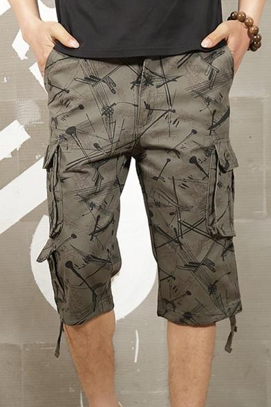 Men's Wear Resistant Fashion Printed Ribbon Hem Casual Loose Cargo Shorts