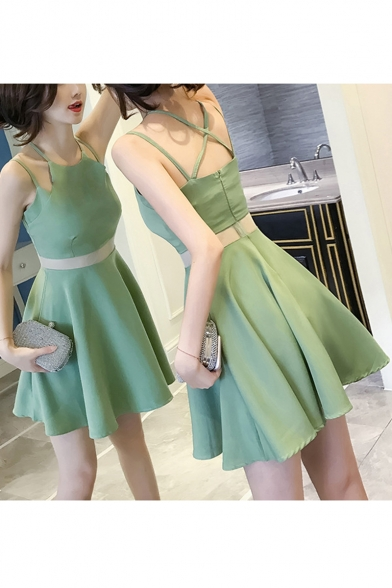 New Stylish Simple Plain Sexy Hollow Out Waist Mini A-Line Cami Dress for Women