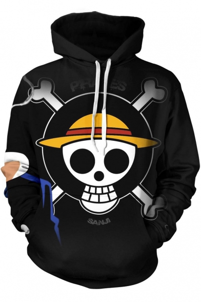 One Piece Funny Skull Logo Pattern Casual Loose Pullover Black Hoodie