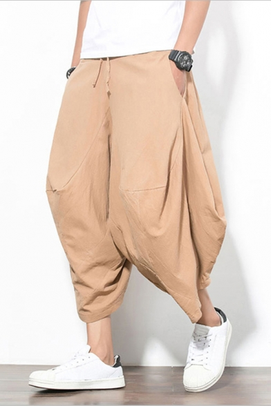 Retro Chinese Style Linen Casual Plain Cropped Wide-Leg Harem Pants for Men